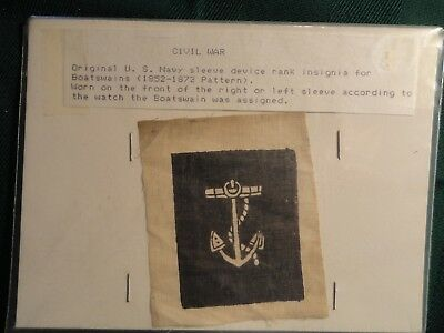Original Civil War Navy Patch Insignia  Rating Rank Sailor Naval.  Very rare.