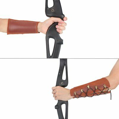 Shooting Archery Leather Laces Wristband Unisex Protective Arm Guard Brown HH