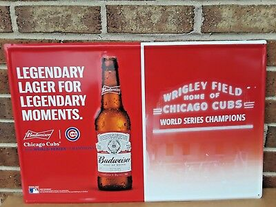 "Chicago Cubs/Budweiser World Series Tin Beer Sign..23"" w by 15"" h...New in Box"