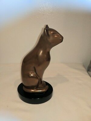 "Floyd Dewitt Bronze Sculpture Art Deco 1960S Egyptian Cat 8.5"" Statue"