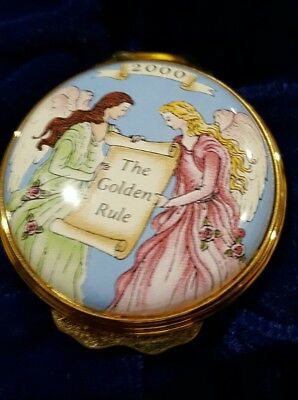 """Halcyon Days Enamels """"The Golden Rule"""" commissioned by Mary Kay dated 2000"""