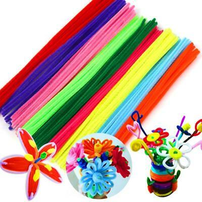 100 Pipe 6mm x 30cm Chenille Sticks Cleaners Stems Assorted Plain Colours.Crafts