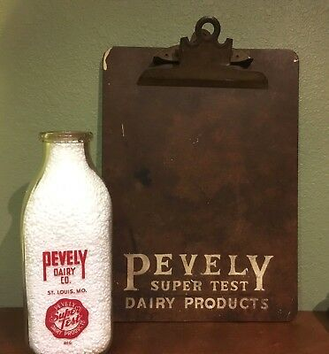 Pevely Dairy Co. Red Pyro Square Quart Bottle & Clipboard - St. louis, Mo.