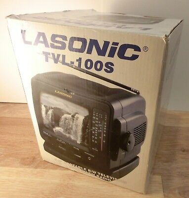 Rare! Lasonic TVL-100s Portable B/W Television TV with AM/FM Radio - NEW!