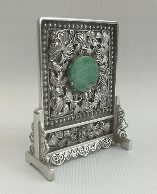 Vintage 19th C Chinese Export Solid Silver Jade Miniature Table Screen Ornament