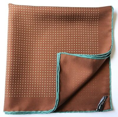Brown & white pin dot spot soft silk pocket square 40cm Hand rolled