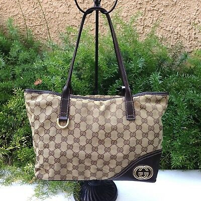 2326e39198d4 SALE GUCCI Britt GG Monogram Canvas Brown Leather Medium Open Tote Shoulder  Bag