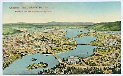 C.1910 Pt Npu Postcard Sketch View Of Proposed Canberra (Act) Looking West M97
