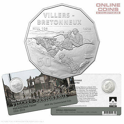 2018 50c UNCIRCULATED COIN - VILLERS-BRETONNEUX THE WESTERN FRONT 1918–2018