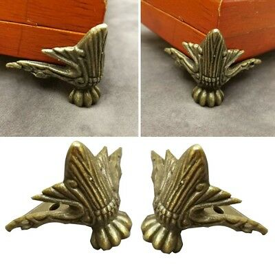 4X Antique Brass Jewelry Wooden Storage Box Feet Leg Corner protector 42*30MM-,