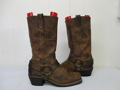 Frye Brown Leather Harness Motorcycle Boots Womens Size 6 5 M