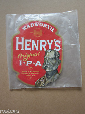 Wadworth - Henry's IPA - Pump Clip Front Badge Beer Real Ale