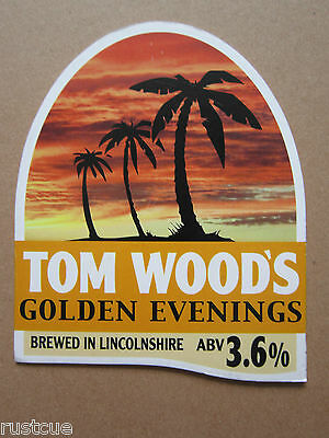 Tom Wood's - Golden Evenings - Pump Clip Front Badge Beer Real Ale
