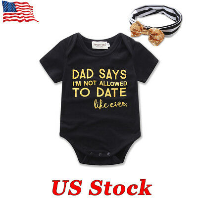 USA Newborn Baby Girl Infant Bodysuit Jumpsuit Playsuit Sunsuit Clothes Romper