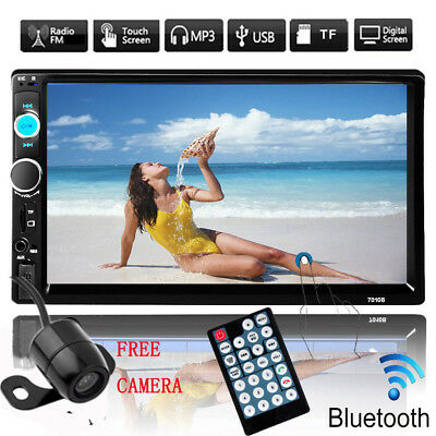 "7"" HD Touch Screen Double 2 DIN Car Stereo Player Bluetooth Radio+Camera Hot BP"