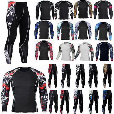 Men Compression Armour Base Layer Tops Thermal Slim Skins Shirt Leggings Fitness