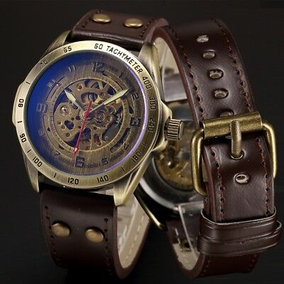 Antique Mechanical Automatic Skeleton Watches Men Leather Self Winding Men Gifts