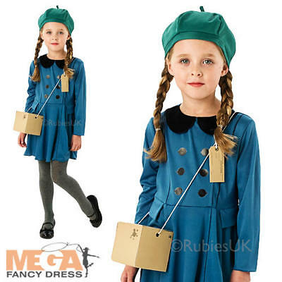 Wartime Girl Fancy Dress Childrens 1930s 1940s Kids Book 40's Costume Outfit