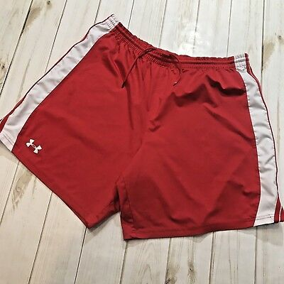b5741d075 UNDER ARMOUR SHORTS LOOSE FIT BASKETBALL ATHLETIC MENS SIZE LARGE Red/White