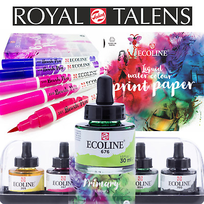 Ecoline Brush Pen Brush-Lettering Royal Talens Aquarell Stifte, Tinten & Papier