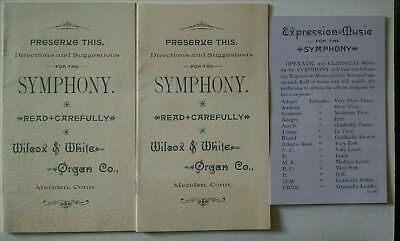 Symphony Player Piano Booklet Form The Wilcox & White Organ Co Meriden CT Set