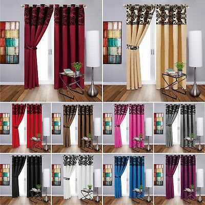 Pair of Eyelet Ring Top Window Damask Flock Curtains Fully Lined & Ready Made