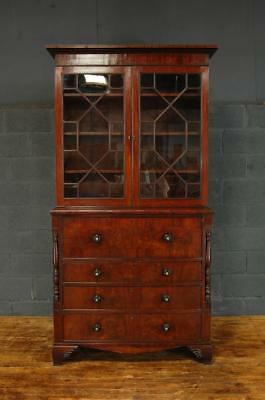 Beautiful Large Mahogany and Rosewood 19th Century Library Secretaire Bookcase