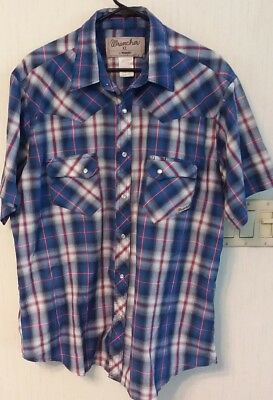 Wrancher By Wrangler Western Blue Plaid Pearl Snap Button Mens Dress Shirt XL