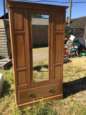 Antique Striped SatinWood Wardrobe with Mirror