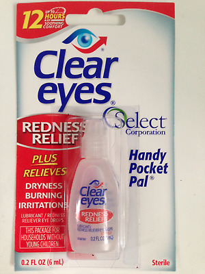 CLEAR EYES REDNESS RELIEF EYE DROPS BURNING DRYNESS 6ml 0.2fl.oz. FREEPOST UK
