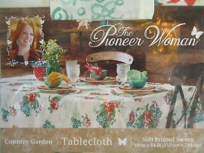"The Pioneer Woman ""Country Garden"" Cotton Tablecloth - Oblong - 60"" X 84"" ~NWT~"