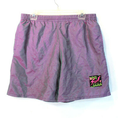 Vintage 80s SURF STYLE Men's Iridescent Purple Swim Shorts Size L Made in the US
