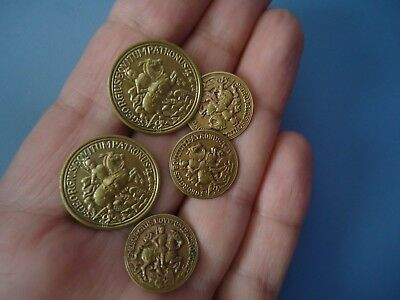 Vintage / Antique ? OLD BRONZE  BUTTONS ST. GEORGE SLAYING THE DRAGON lot of 5