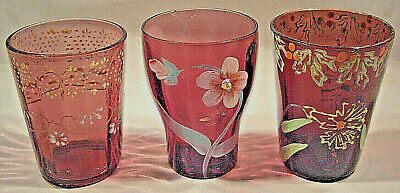 3 Different Amethyst Victorian Hand Painted & Enameled Optic Tumblers Great Cond