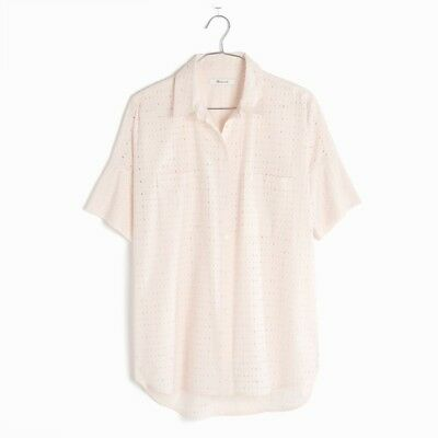 1396678fe MADEWELL TOP PINK Courier Eyelet Oversize Short Sleeve button Shirt Size XS  - $18.74   PicClick