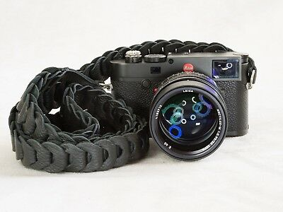 """Rock & Roll Leather Camera Strap Black Grain Structure 50"""" Rock N Roll Leica"""