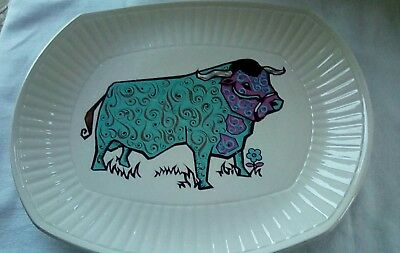 English Ironstone Beefeater 1970's Cow Steak Plate
