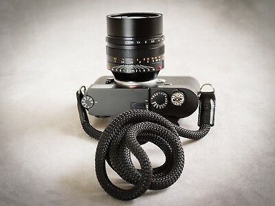 "Rock and Roll Black Snake rope Camera Strap Leica M Fuji & Sony 50"" Olympus"