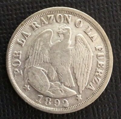 1892 Chile 20 Centavos Silver Coin W ERROR In 2 Of Date