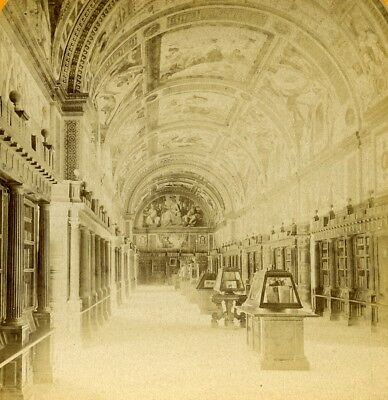 Spain Madrid El Escorial Palace Library Old Stereoview Photo 1888
