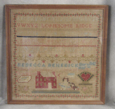 Antique Sampler w/ King Charles Spaniel dog 1853 Rebecca Benedick 4/10/42 RARE