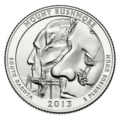 2013 D Mount Rushmore, South Dakota, ATB Quarter From US Mint Roll