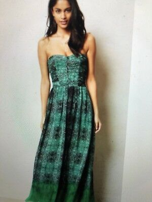 Anthropologie Moulinette Soeurs Vernalis Green Maxi Strapless Dress