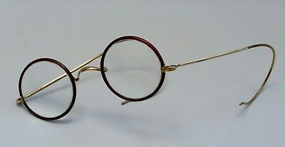 Vtg Rolled Gold Red Rim Round Steampunk Spectacles Reading Glasses Cable Temples