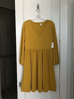 37e8a827640 NWT Old Navy Jersey-Knit Long Sleeve Swing Dress Golden Yellow Size Large
