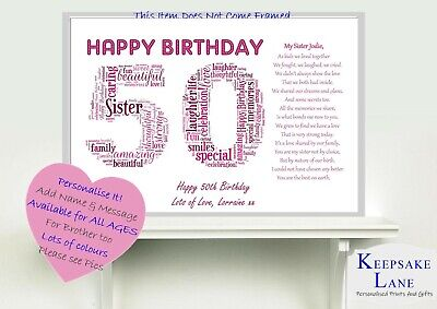 Personalised Special Sister Poem Word Art 60th 65 40 50 Birthday Gift Present
