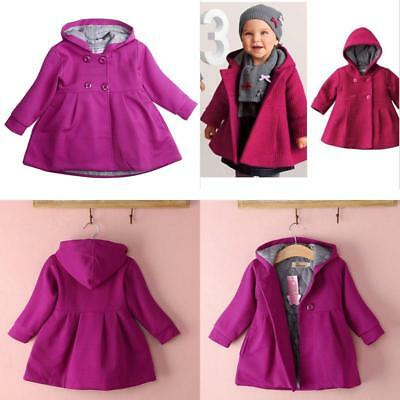 d3a0246c7 BABY TODDLER GIRLS Fall Winter Trench Coat Wind Hooded Jacket Kids ...