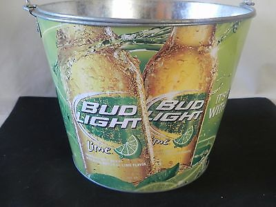 Bud Light Lime Galvanized Beer Wine Ice Bucket Cooler 5Qt With Handle Metal  Tin
