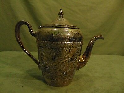 Vintage Silver On Copper Tea Coffee Pot With Attched Lid