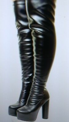 793641a7212e Sexy Over The Knee concealed Platform Thigh High Heel Stretch Wide Calf  boots